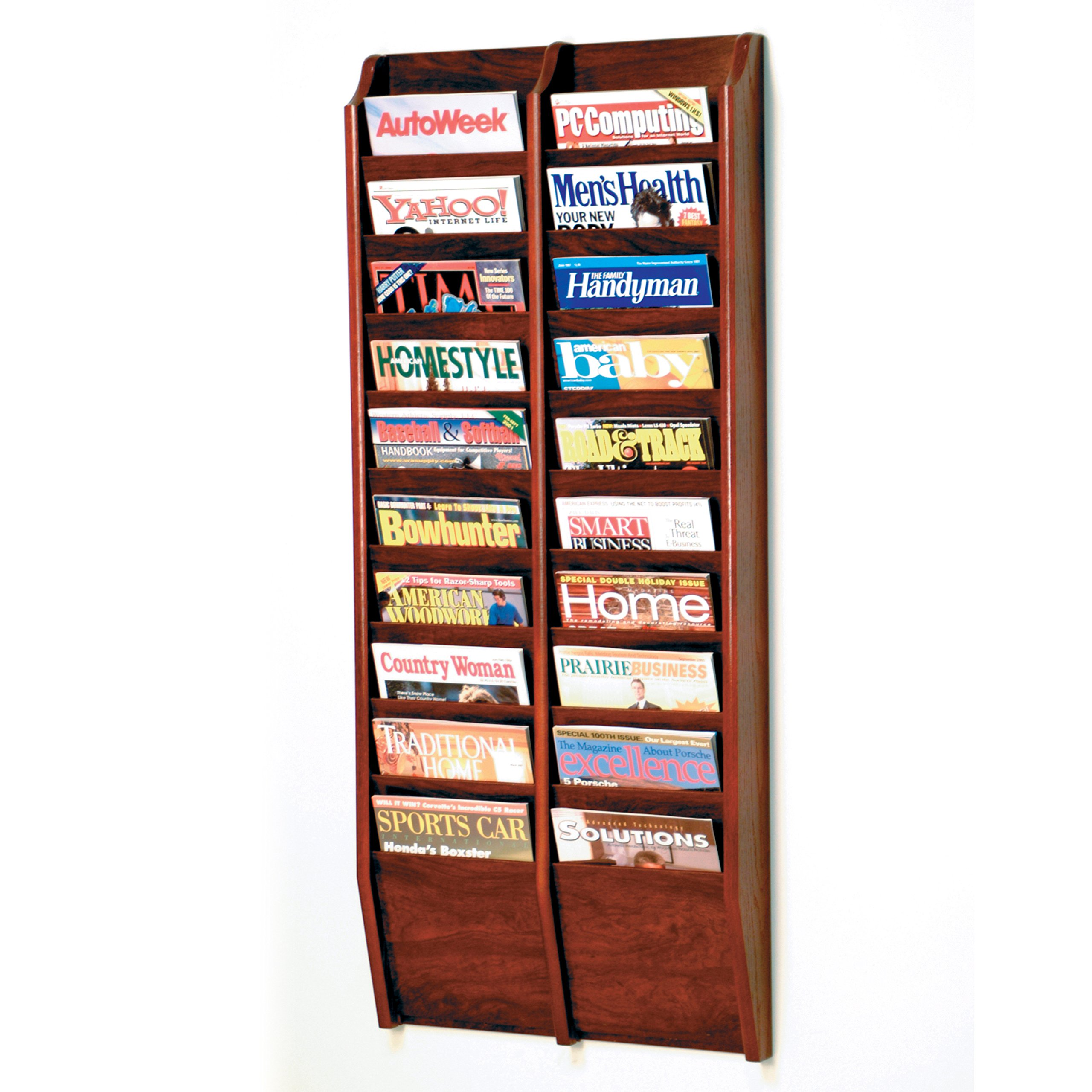 Wooden Mallet 20-Pocket Cascade Magazine Rack, Mahogany by Wooden Mallet
