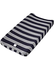 """Burt's Bees Baby Bold Stripe Changing Pad Cover - 100% Organic for Standard 16"""" x 32"""" Changing Pad, Blueberry, One Size"""