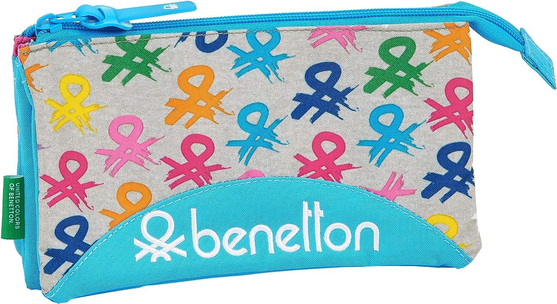 safta 812052744 Estuche portatodo Triple Escolar Benetton, Multicolor: Amazon.es: Equipaje