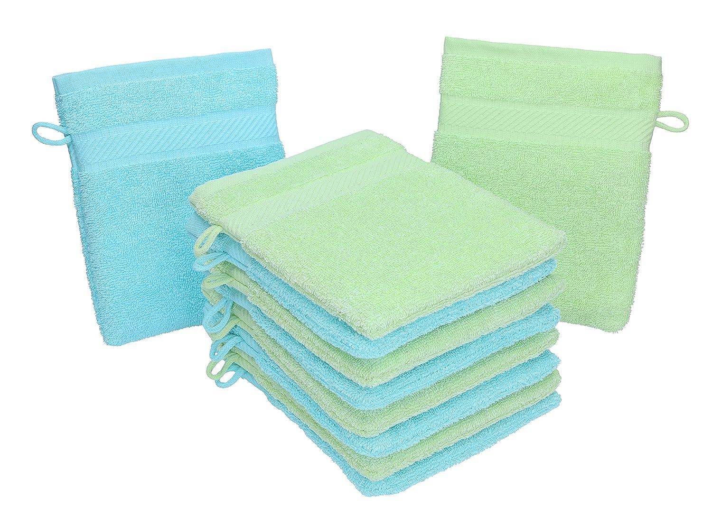 Betz 10 guanti da bagno manopola Palermo 100 % cotone misure 16 x 21 cm colore verde e turchese