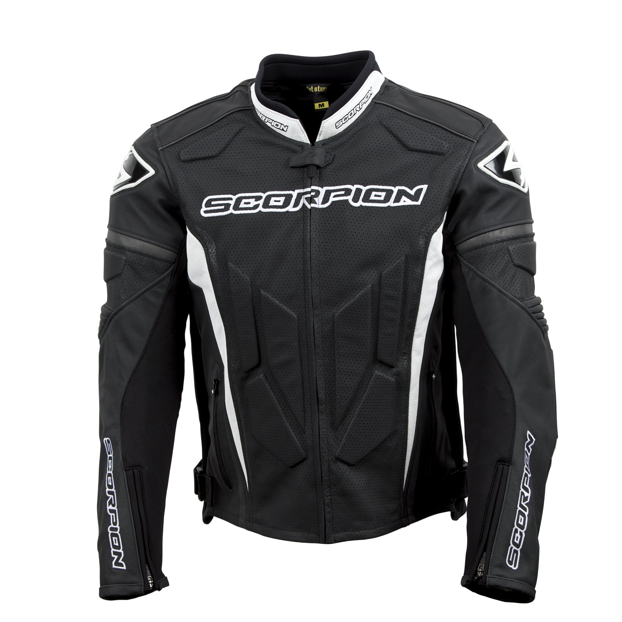ScorpionExo Clutch Men's Leather Sport Motorcycle Jacket (Black/White, Large)