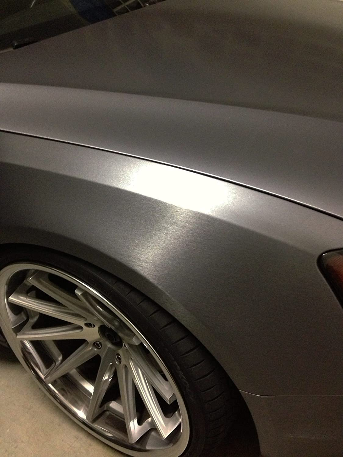 Dark Grey Brushed 60' x 1ft Car Wrap Vinyl Roll with Air Release 3MIL-VViViD BHBAZUKAZIND2534