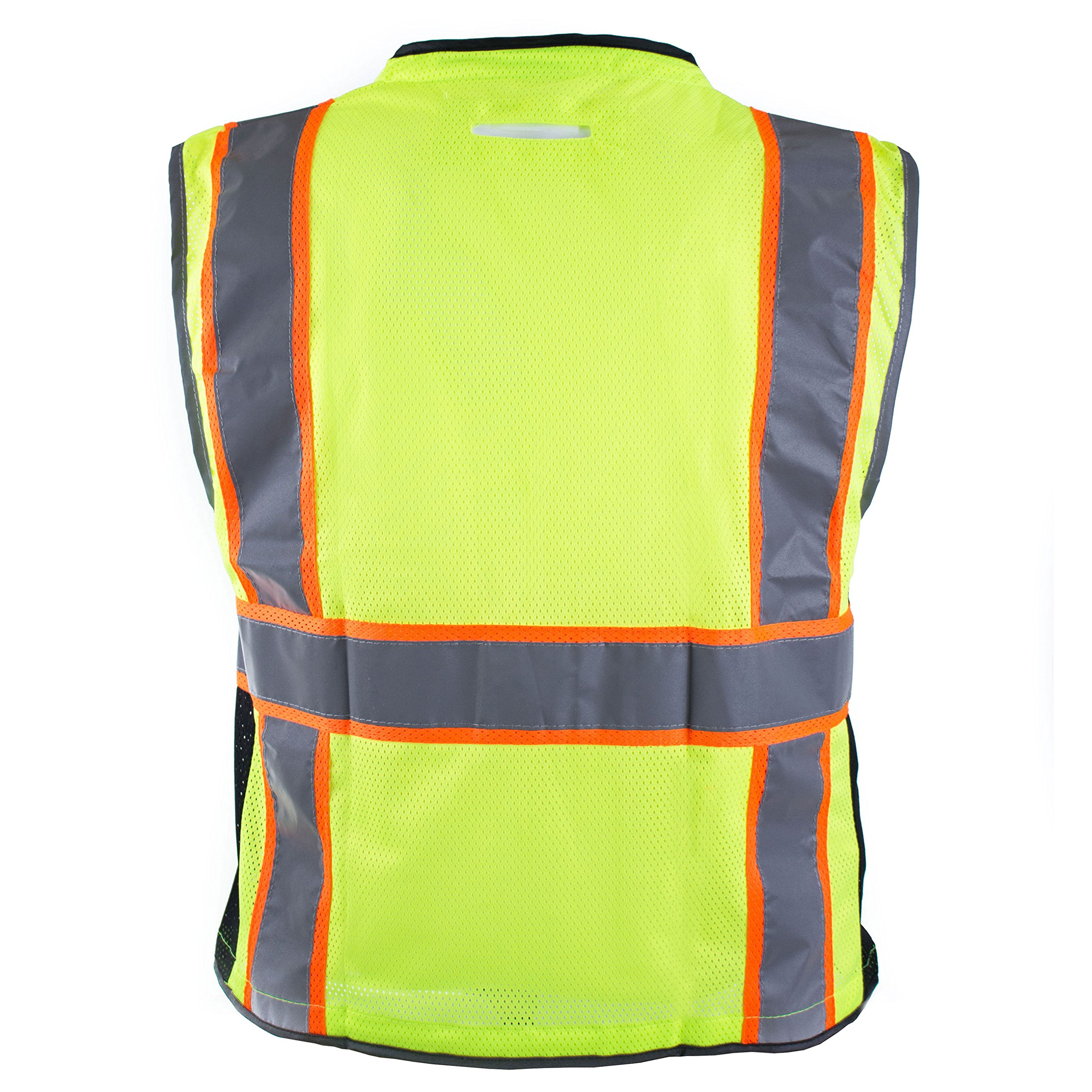 RK Safety P6612 Class 2 High Visible Two Tone Reflective Strips Breathable Mesh Vest, Pockets Harness D-Ring Pass Thru, ANSI/ISEA, Construction Motorcycle Traffic Emergency (Lime, Medium) by New York Hi-Viz Workwear (Image #10)