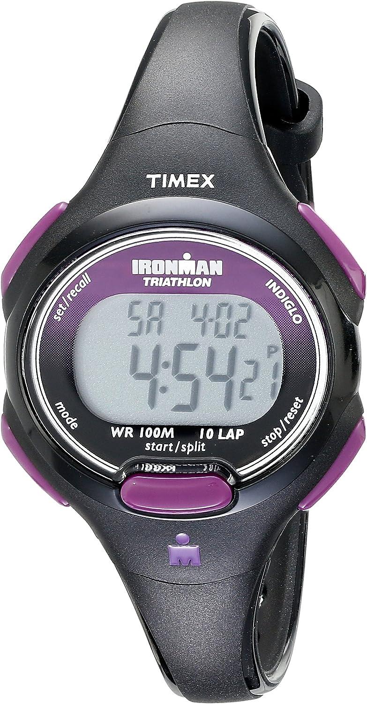 Timex Women's T5K523 Ironman Essential 10 Mid-Size Black/Purple Resin Strap Watch: Timex: Watches
