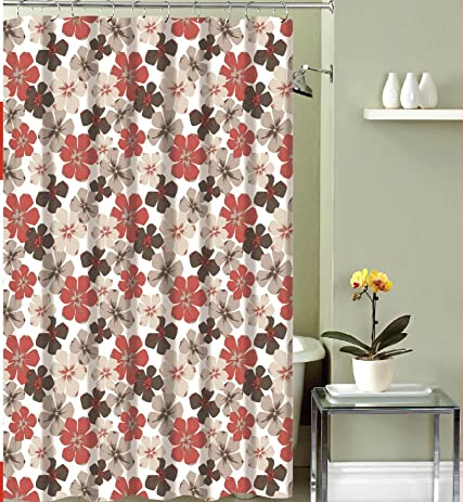 Amazon.com: Rustic Floral Fabric Shower Curtain: Primitive Burgundy ...