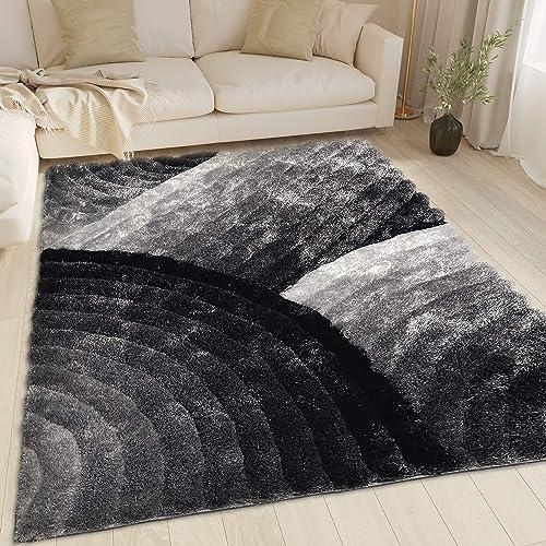 LA Soft Fluffy Large Plush Contemporary Braided Shaggy 8×10 Feet 3D Shag Area Rug Carpet Rug Black White Gray Color 280