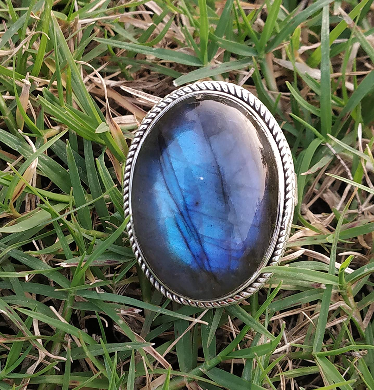 Labradorite Ring 925 Sterling Silver Band Ring Statement Handmade Jewelry mi5231