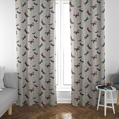 Atlas Home Butterfly Print Cotton Duck Curtain Panel Set