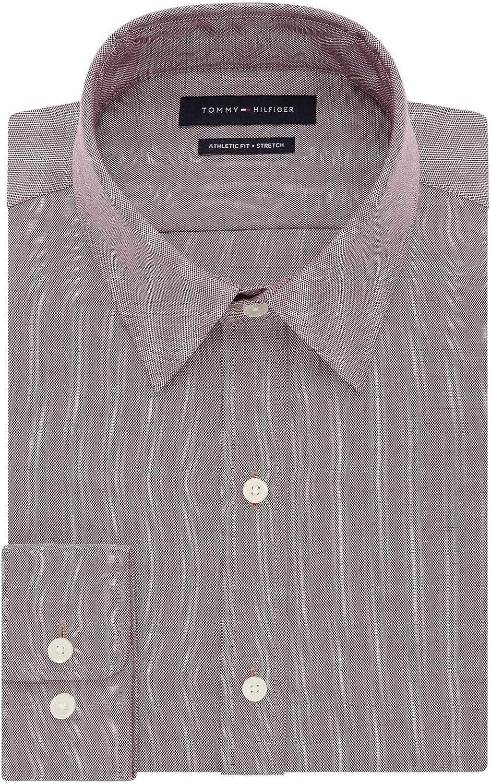Tommy Hilfiger Mens Athletic Fit TH Flex Collar Dress Shirt 17 32//33 Aubergine