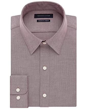 25e796f2 Tommy Hilfiger Mens Athletic Fit TH Flex Collar Dress Shirt 15.5 32/33  Aubergine at Amazon Men's Clothing store:
