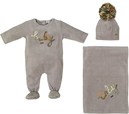 9bcecaaea9 Cream Bebe Newborn Baby Boy Gift Set Grey Take Me Home Soft Footie Blanket  and Hat