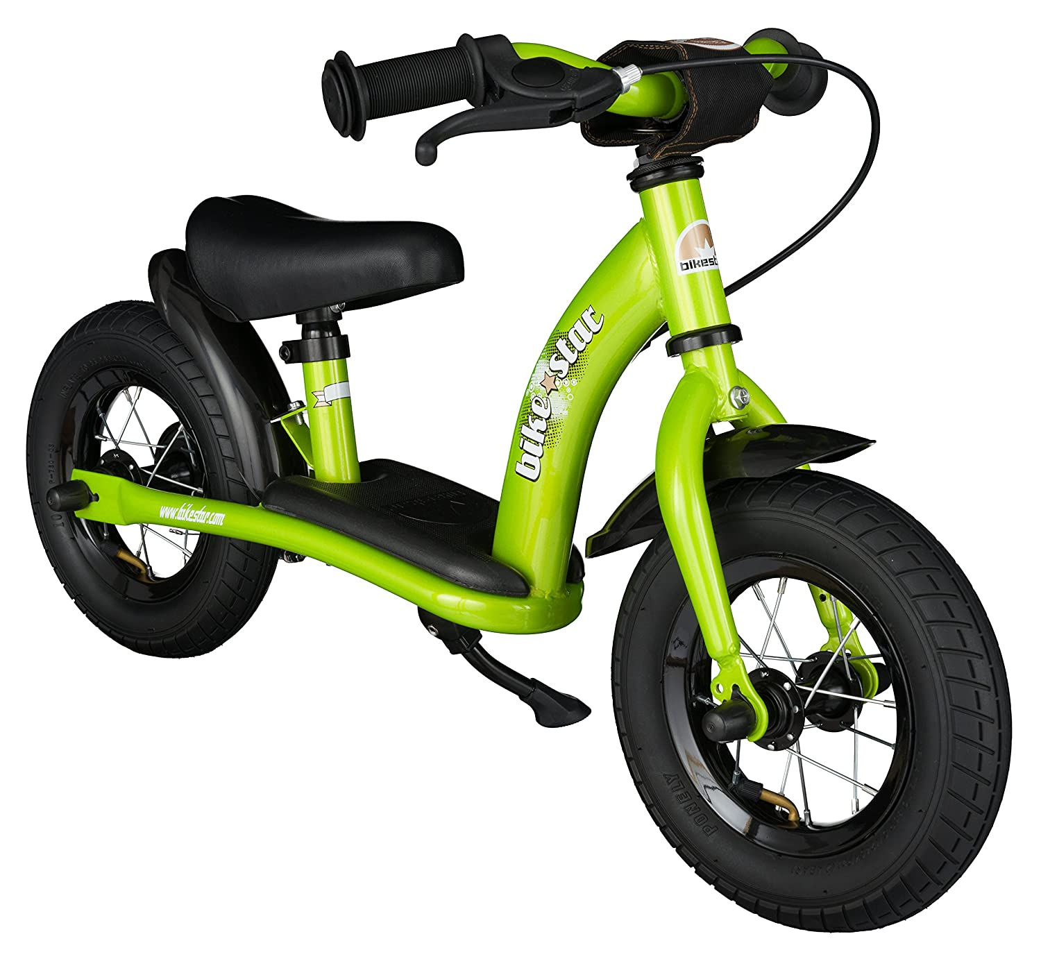 BIKESTAR Original Safety Lightweight Kids First Balance Running Bike with brakes and with air tires for age 2 year old boys and girls | 10 Inch Classic Edition | Brilliant Green Star-Trademarks