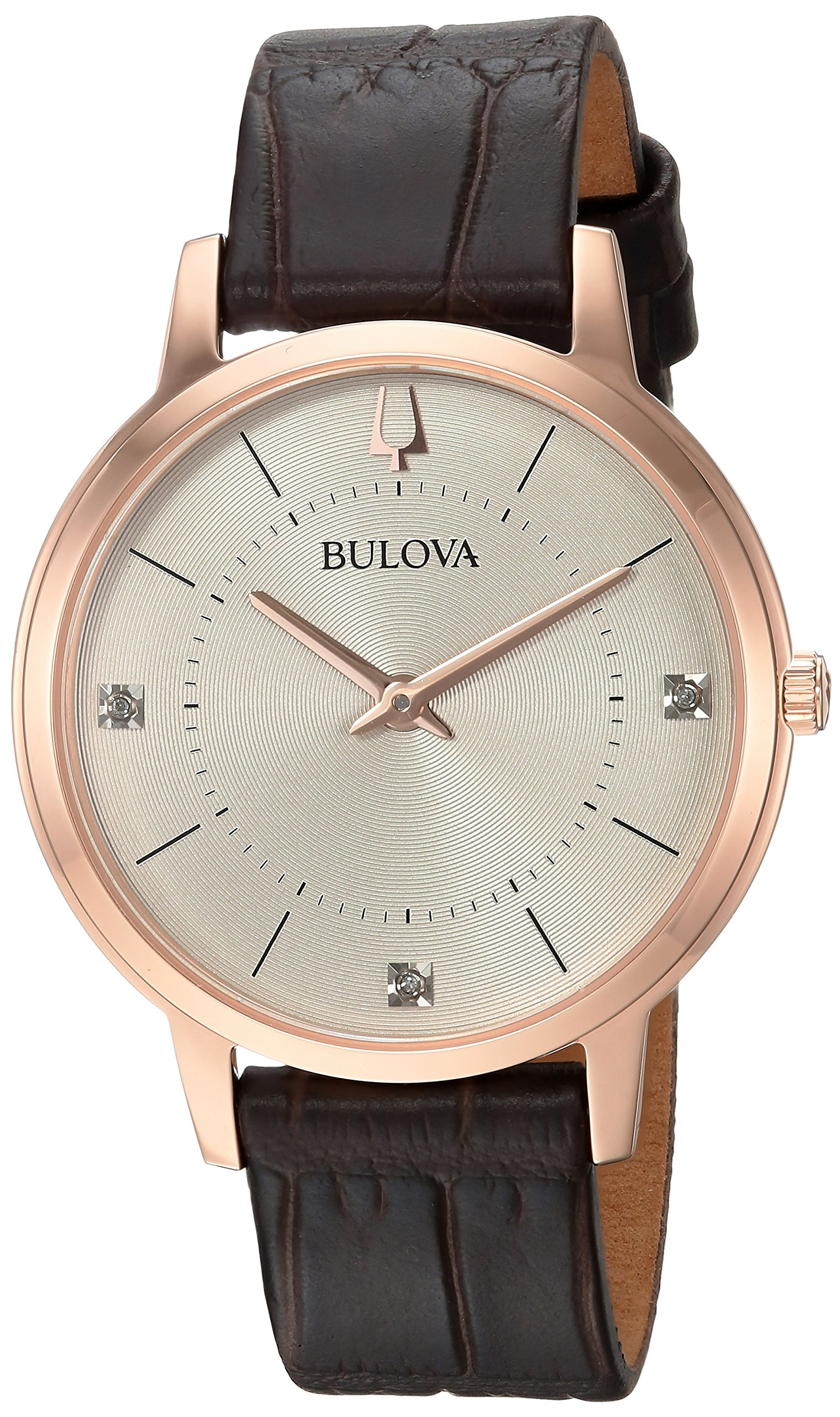 Bulova Women's 'Diamonds' Quartz Stainless Steel and Leather Casual Watch, Color:Brown (Model: 97P122) by Bulova