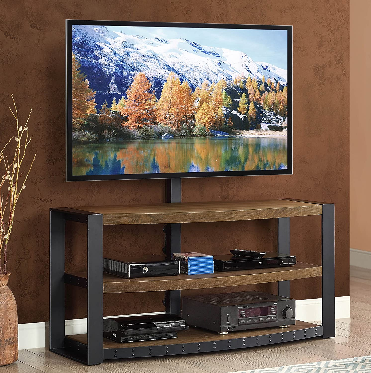 Amazon.com: Whalen Furniture Santa Fe 3 In 1 TV Stand: Kitchen U0026 Dining