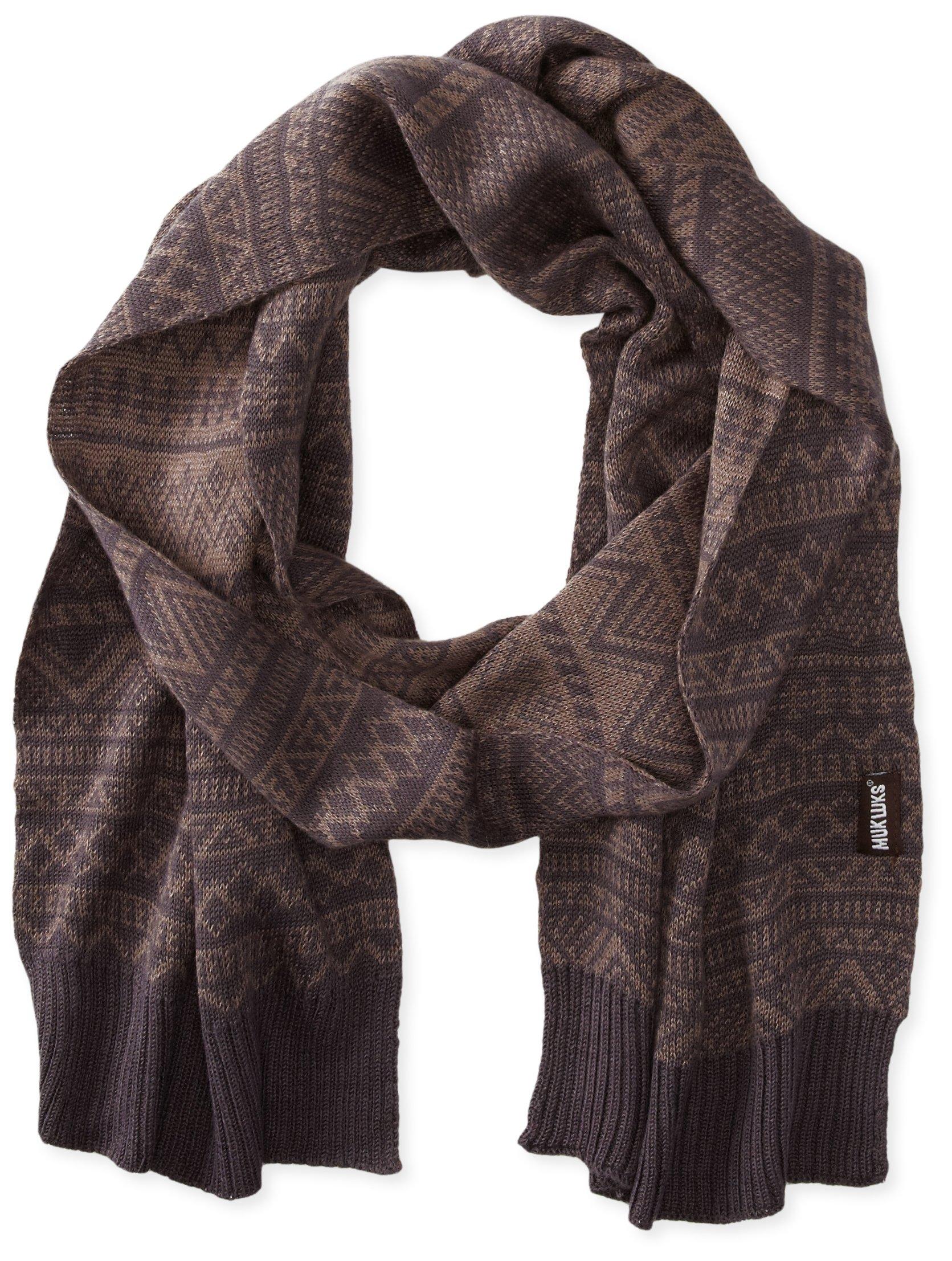 Muk Luks Men's Fine Gauge Jacquard Scarf, Grey, One Size