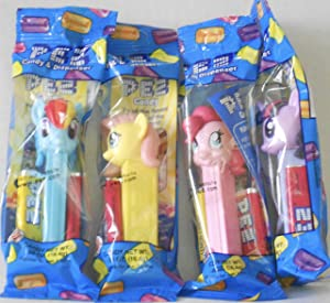 Bundle of 4 'My Little Pony' Pez Dispensers - Fluttershy & Pinkie Pie & Rainbow Dash & Twilight Sparkle - ALL FOUR - In Cello Packages with 2 Rolls of Candy Each