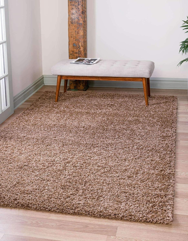 Amazon Com Unique Loom Solo Solid Shag Collection Modern Plush Sandy Brown Area Rug 5 0 X 8 0 Furniture Decor