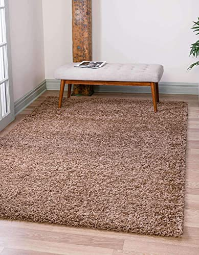 Unique Loom Solo Solid Shag Collection Modern Plush Sandy Brown Area Rug 5' 0 x 8' 0