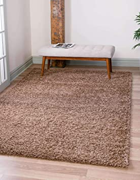 Unique Loom Solo Solid Shag Collection Modern Plush Sandy Brown Area Rug 5 0 X 8 0 Furniture Decor