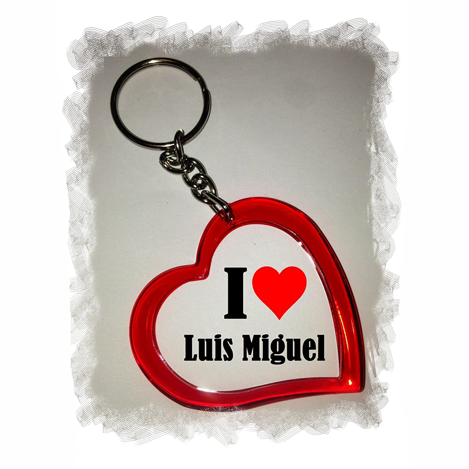 Idea: Heart Keyring I Love Luis Miguel, a Great gift that comes from the Heart - Backpack pendant - love pendant - Keychains- Keyring Druckerlebnis24