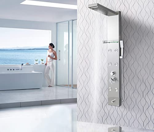 XZST 59 Inch Thicken 304 Stainless Steel Shower System Wall Mount Bathroom Multi-Function Super Large Rainfall Overhead Shower Panel with Adjustable Massage Sprayer, Brushed Nickel