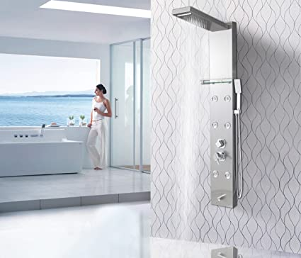 Shower Faucets Rainfall Shower Tap Thermostatic Mixer Shower Luxury Led Panel Shower 304 Stainless Steel Overhead Spa Back To Search Resultshome Improvement