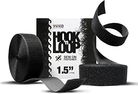 """Hook And Loop Heavy Duty Sew On Fastening Black Crafts Sewing 2/""""BY THE FOOT"""