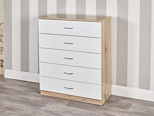 URBN Living Small Wooden Drawer Grey /& White Cabinet