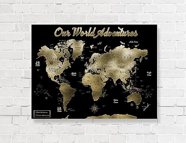 Amazon gold world map push pin map on canvas detail world map gold world map push pin map on canvas detail world map gumiabroncs Image collections