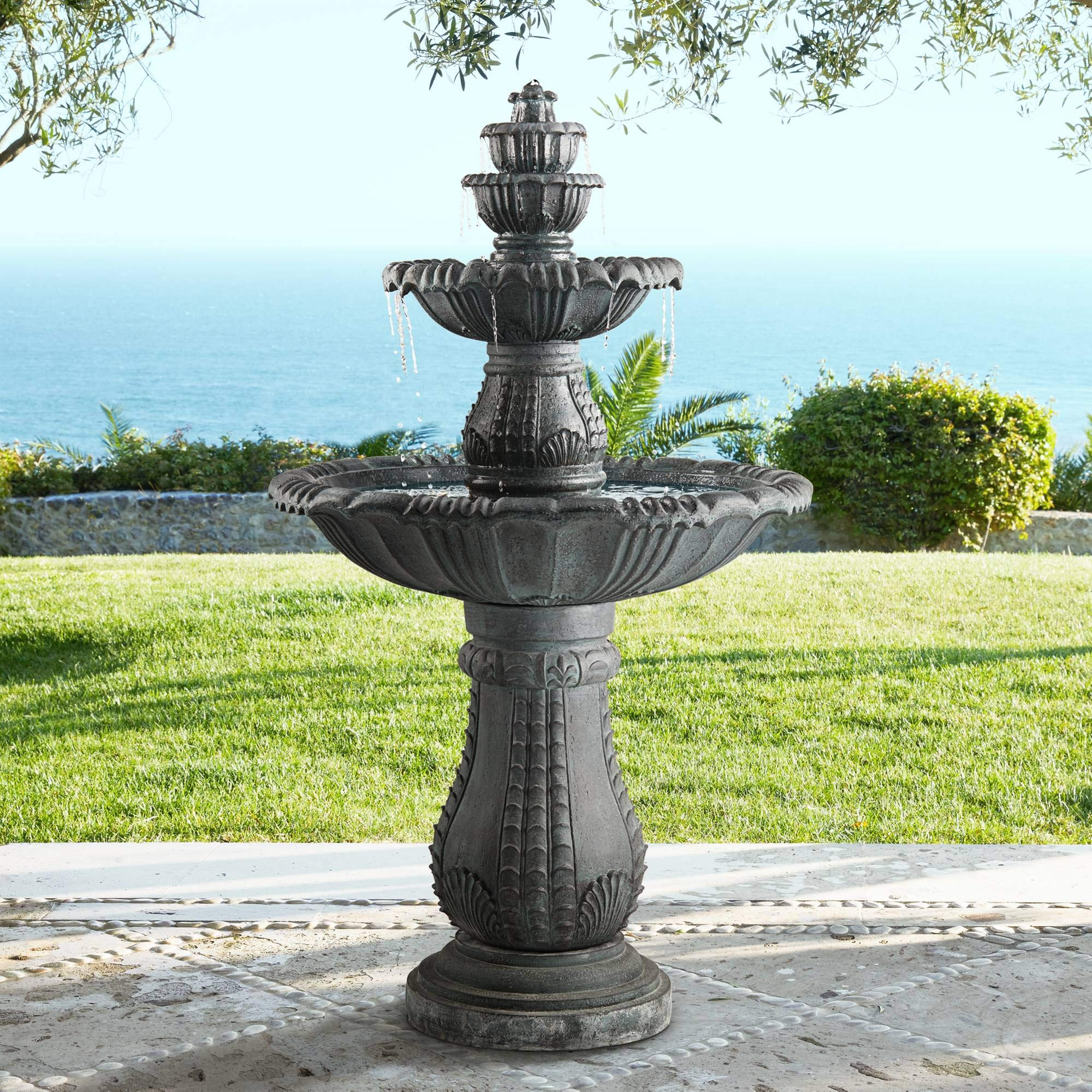 John Timberland Hampton 56 3/4'' High Slate 4-Tier LED Outdoor Floor Fountain