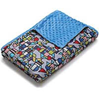 YnM Weighted Blanket, 20lbs 55''x 82'', Breathable Cotton, Extra Long, Midnight Blue/Seafoam