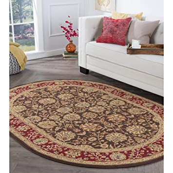 Amazon Com Alise Rugs Rhythm Transitional Floral Oval Area Rug 5