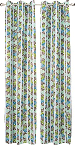 Deconovo Panel Zebra Print Drapes Living Room 1 Pair Thermal Curtains, 42x95Inch, Green