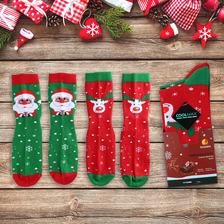 2 Paar COOLMAX Weihnachtssocken, Weihnachtsmann + Elch ...