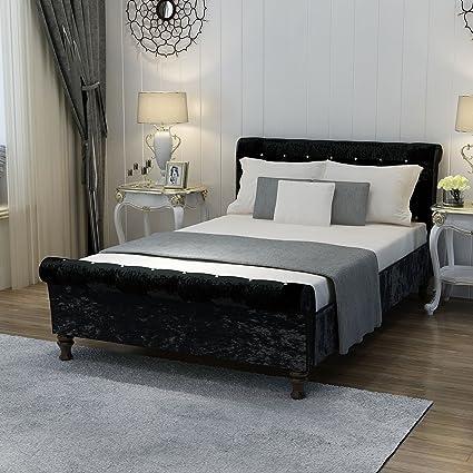 Tejido, de terciopelo marco de la cama tapizada tela alto cabecero ...