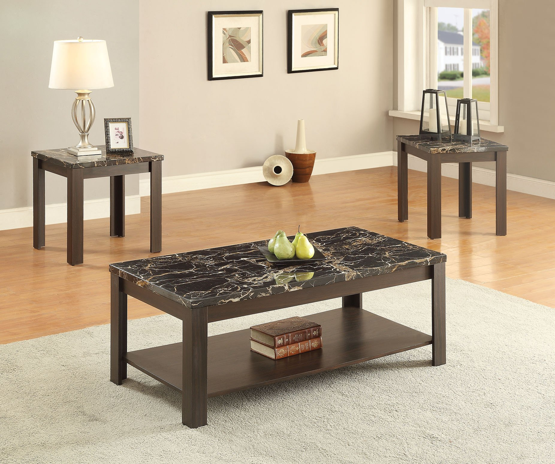 ACME Furniture 82138 3 Piece Afton Coffee/End Table Set, Faux Marble & Walnut