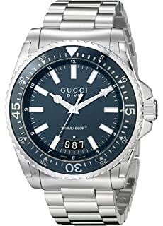 Gucci Dive Analog Display Swiss Quartz Silver-Tone Mens Watch(Model:YA136203)