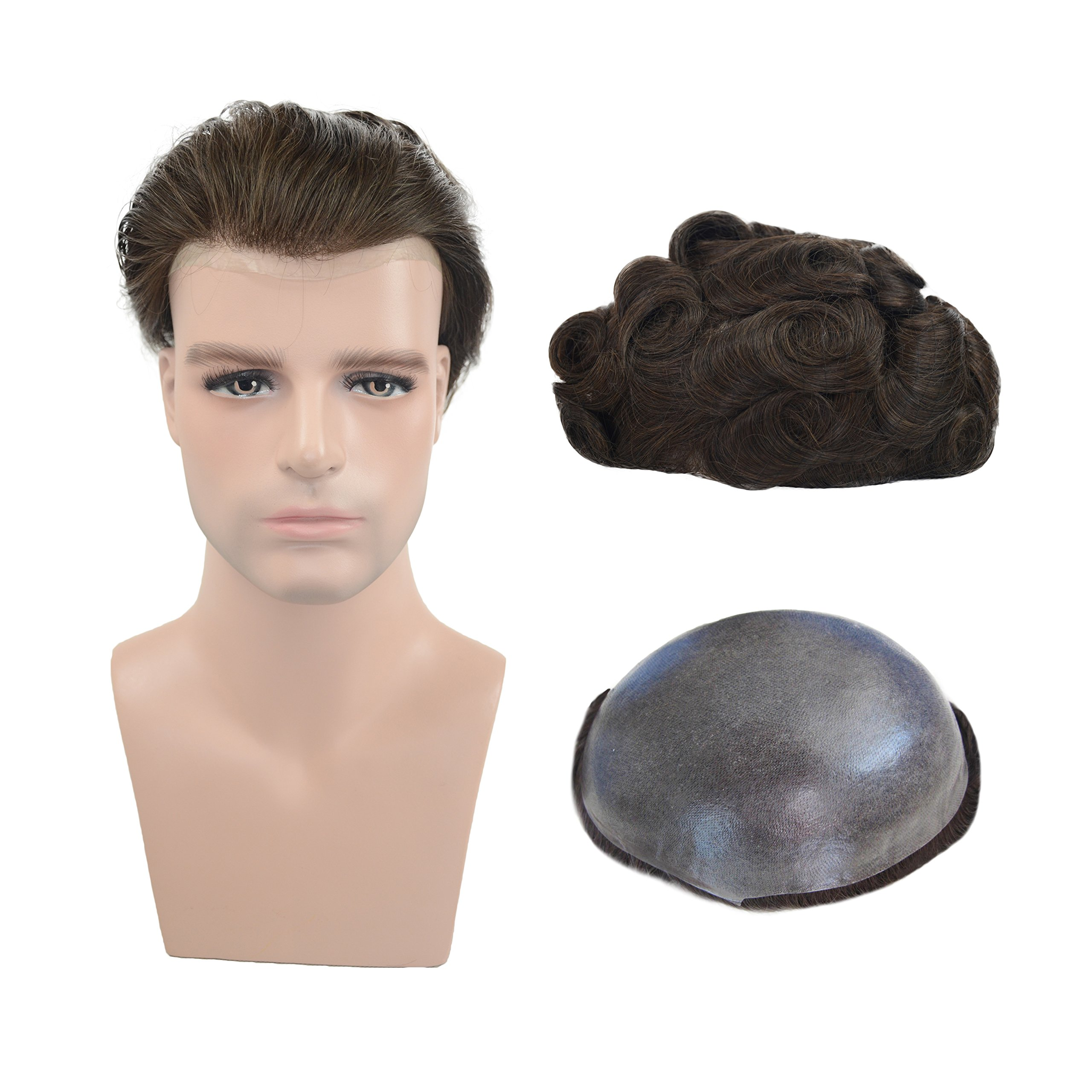 Human Hair Thin Skin Toupee Hairpieces For Men, Veer European Virgin Human Hair Replacement Wigs Natural Wave V-looped Hair Dark Brown Color(#2)