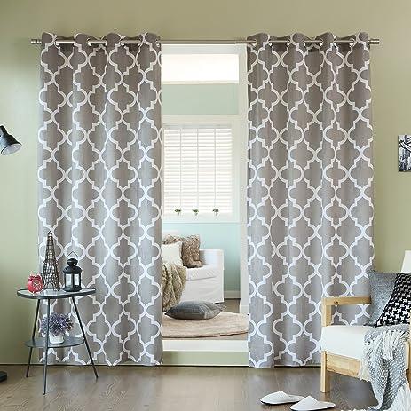 Best Home Fashion Moroccan Print Velvet Curtains   Stainless Steel Nickel  Grommet Top   Grey