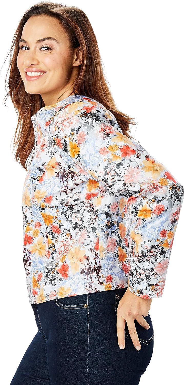 Jessica London Womens Plus Size Collarless Leather Jacket