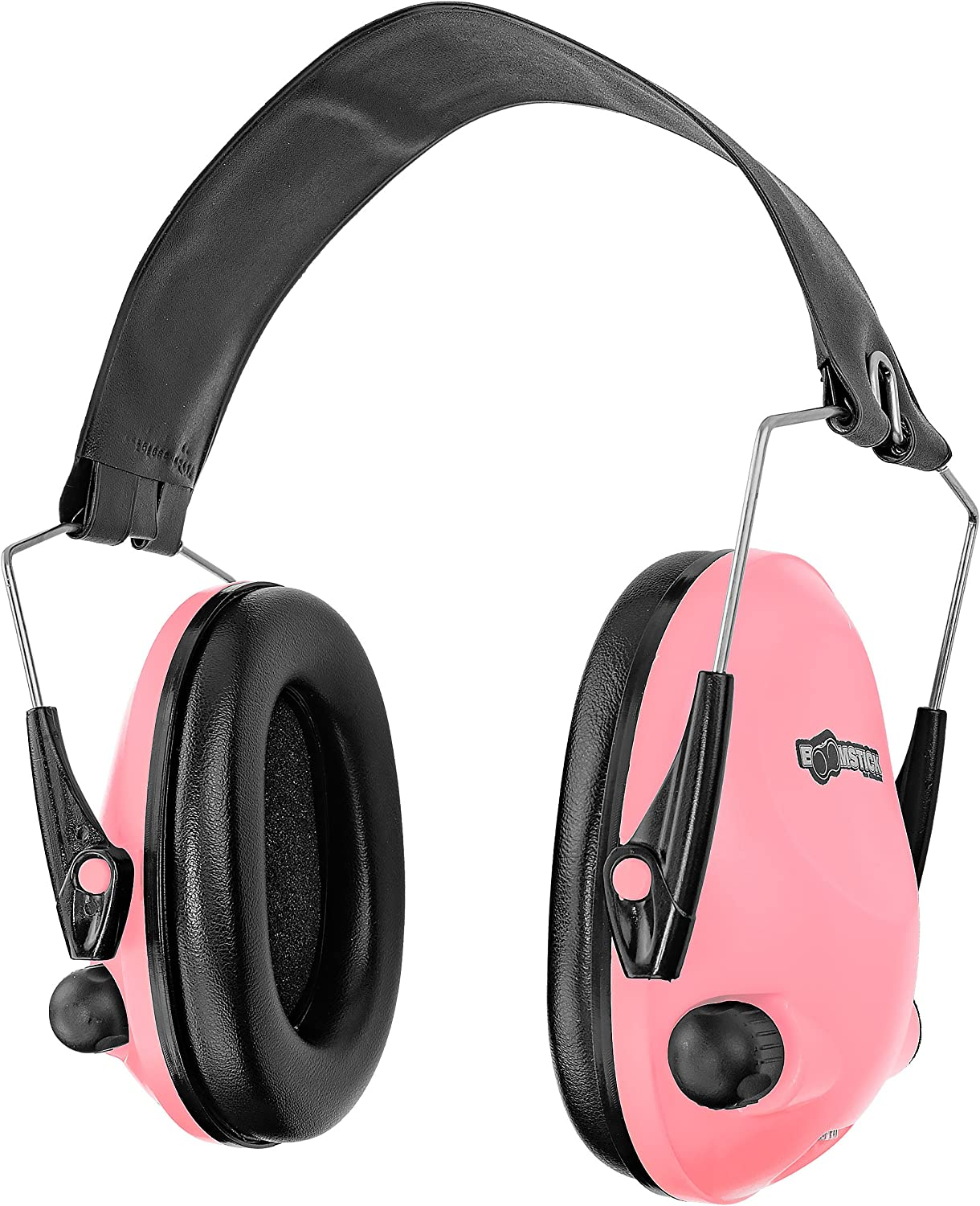 Boomstick Gun Accessories Electronic Low Profile Noise Cancelling Over The Head Folding Earmuff Noise Safety Hearing Protection Pink