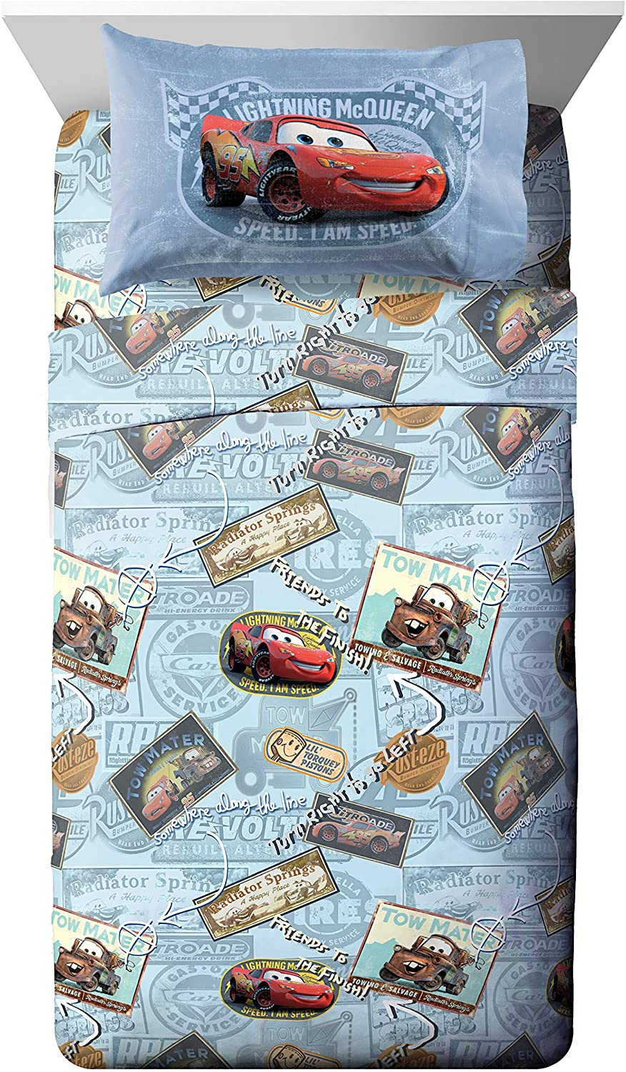 Jay Franco Disney Pixar Cars Tune Up 3 Piece Twin Sheet Set, Featuring Lightning McQueen & Mater