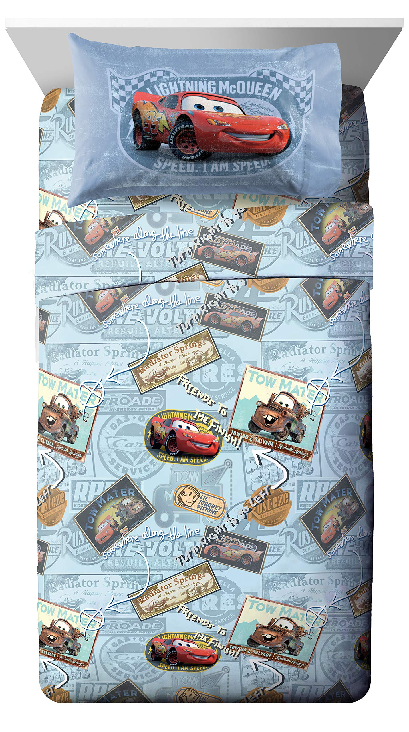 Jay Franco Disney/Pixar Cars Tune Up Blue/Gray 4 Piece Full Sheet Set with Lightning McQueen & Mater (Official Disney/Pixar Product) by Jay Franco