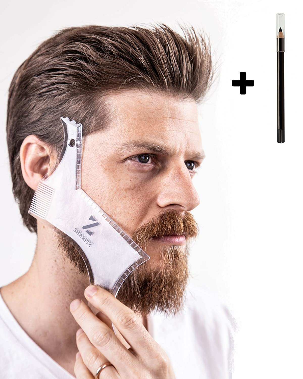 Beard Shaping Tool Liner Template by Sharpiz | Transparent Stencil Comb Shaper for Styling with Trimmer, Razor or Clippers | The Perfect Gift Including a Lineup Pencil & Grooming Guide