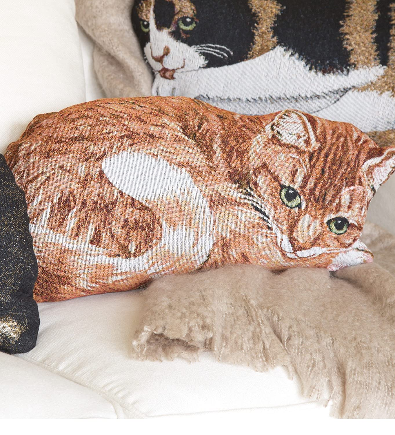 Cotton Jacquard Woven Tapestry Orange Tabby Cat Throw Pillow ...