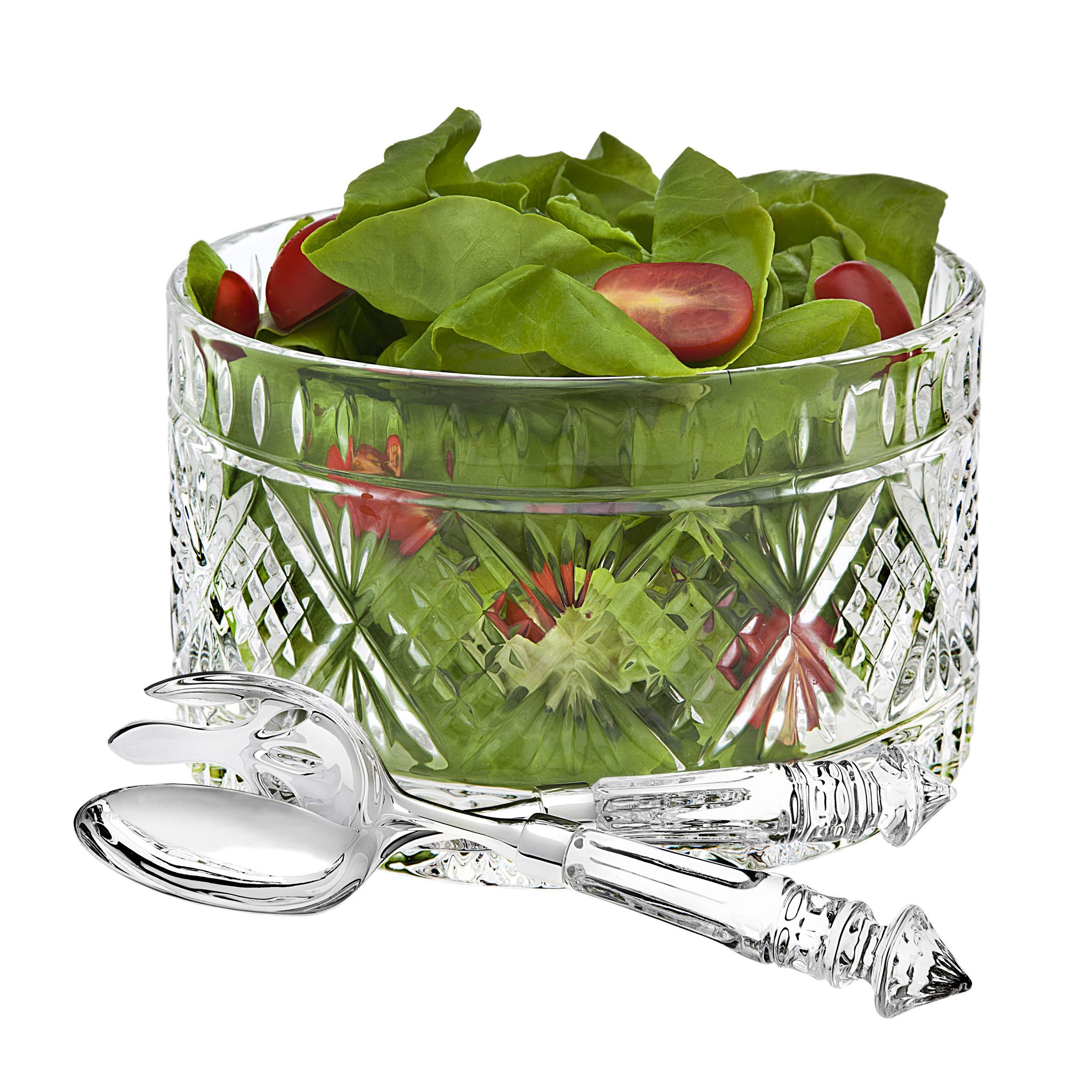Set of 3 High Quality Crystal Clear Salad Bowl Serving Set, Salad Serving Utensils Included Large Serving Dish,