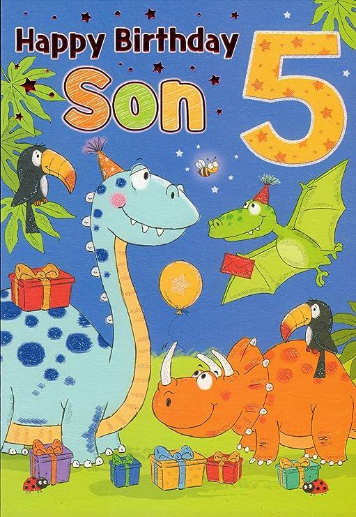 Tarjeta de cumpleaños - Feliz cumpleaños hijo 5