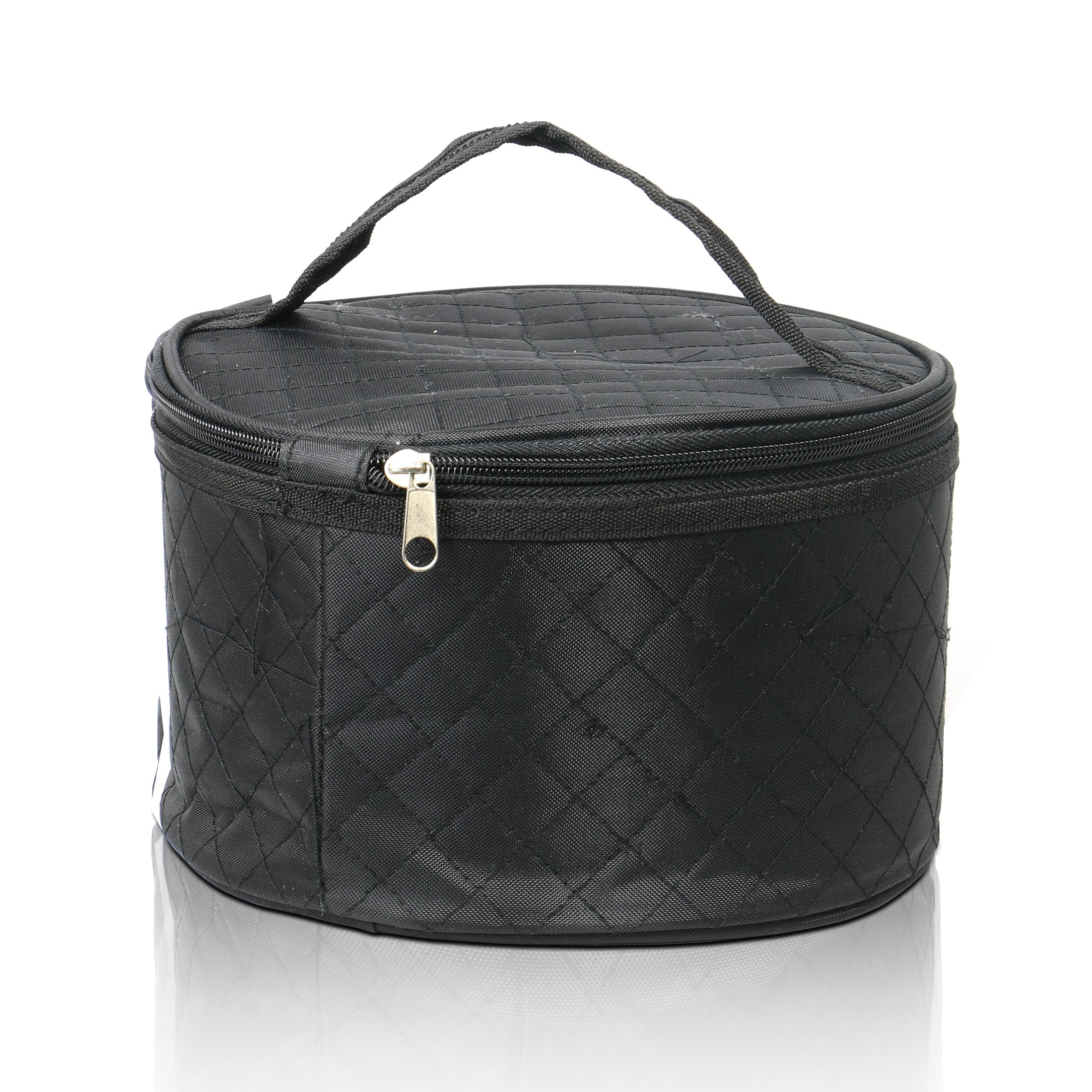 Travel Case for Wigs, Black Quilted Nylon with Interior Mirror, Zipper, Double Stitching, Lightweight & Portable Wig Pouch by Adolfo Design by Adolfo Design