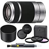 Sony E 55-210mm f/4.5-6.3 OSS Lens (Silver) for Sony E-Mount Cameras Bundle. Includes: Filter Kit, Cleaning Pen, Front and Rear Lens Caps and Original Sony Lens Hood - International Version
