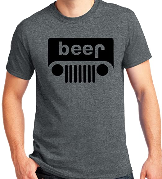607ca3a2 LiberTEES Beer Jeep Parody Logo Dark Heather T Shirt Big and Tall Sizes |  Amazon.com
